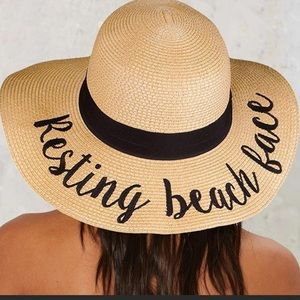 Resting Beach Face Wide Brim Floppy Sun Hat NWT